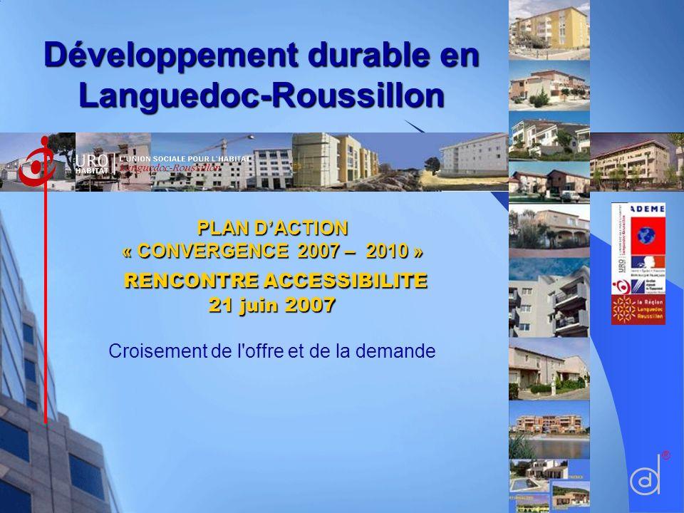 PLAN DACTION « CONVERGENCE 2007 – 2010 » RENCONTRE ACCESSIBILITE 21 juin 2007 Croisement de l'offre et de la demande ®Développement durable en Langued