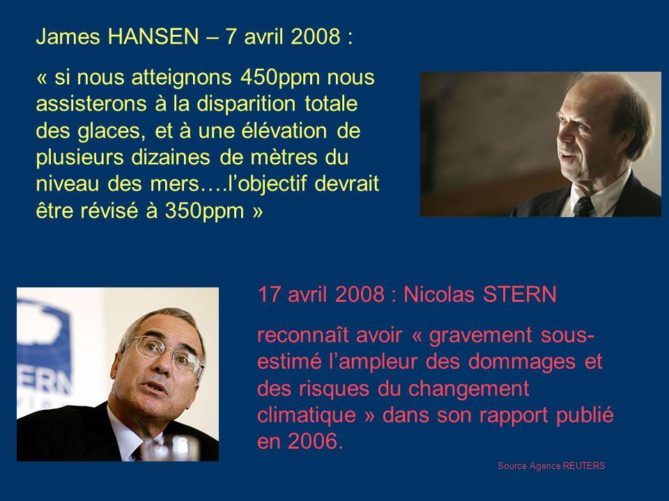 James HANSEN – 7 avril 2008 : « si nous atteignons 450ppm nous assisterons à la disparition totale des glaces, et à une élévation de plusieurs dizaine