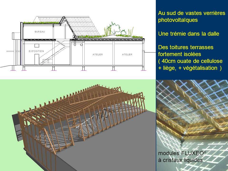 Au sud de vastes verrières photovoltaïques Une trémie dans la dalle Des toitures terrasses fortement isolées ( 40cm ouate de cellulose + liège, + végé
