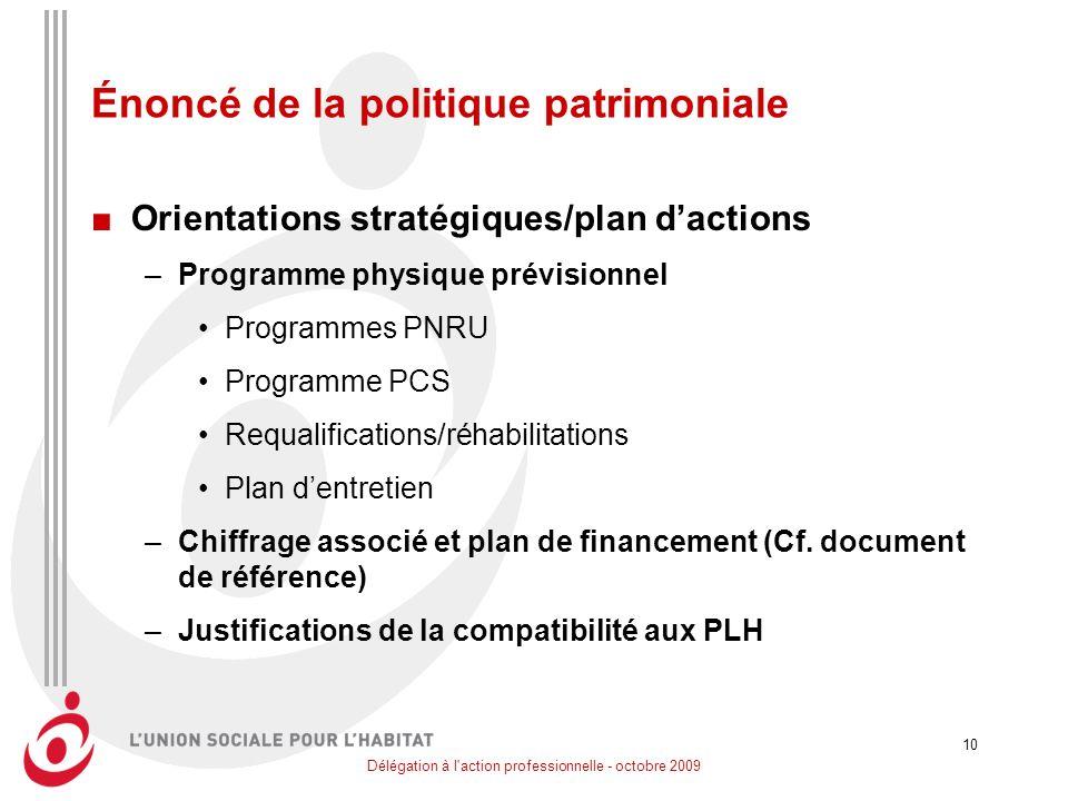 Délégation à l'action professionnelle - octobre 2009 10 Énoncé de la politique patrimoniale Orientations stratégiques/plan dactions –Programme physiqu