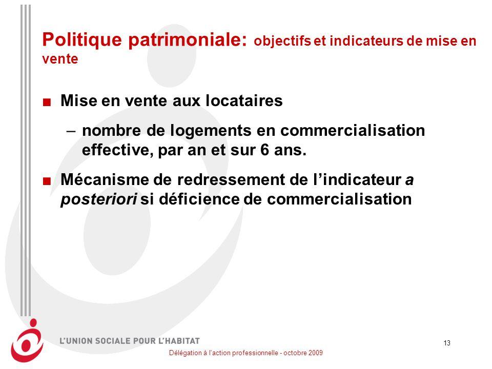 Délégation à l'action professionnelle - octobre 2009 13 Politique patrimoniale: objectifs et indicateurs de mise en vente Mise en vente aux locataires