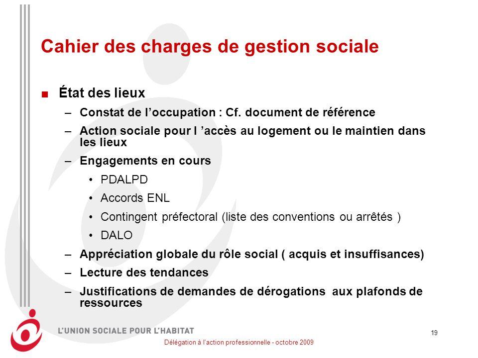 Délégation à l action professionnelle - octobre 2009 19 Cahier des charges de gestion sociale État des lieux –Constat de loccupation : Cf.