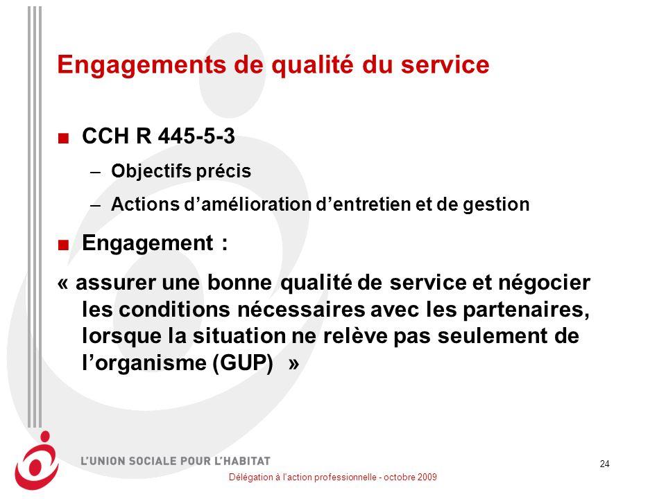 Délégation à l'action professionnelle - octobre 2009 24 Engagements de qualité du service CCH R 445-5-3 –Objectifs précis –Actions damélioration dentr