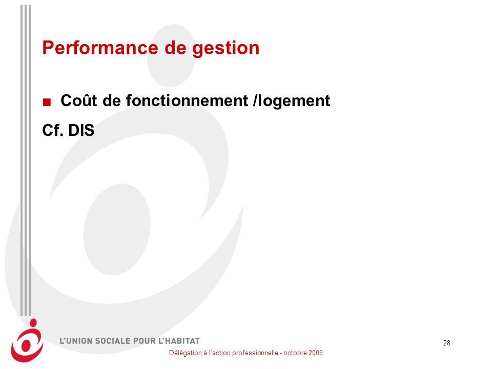Délégation à l'action professionnelle - octobre 2009 28 Performance de gestion Coût de fonctionnement /logement Cf. DIS