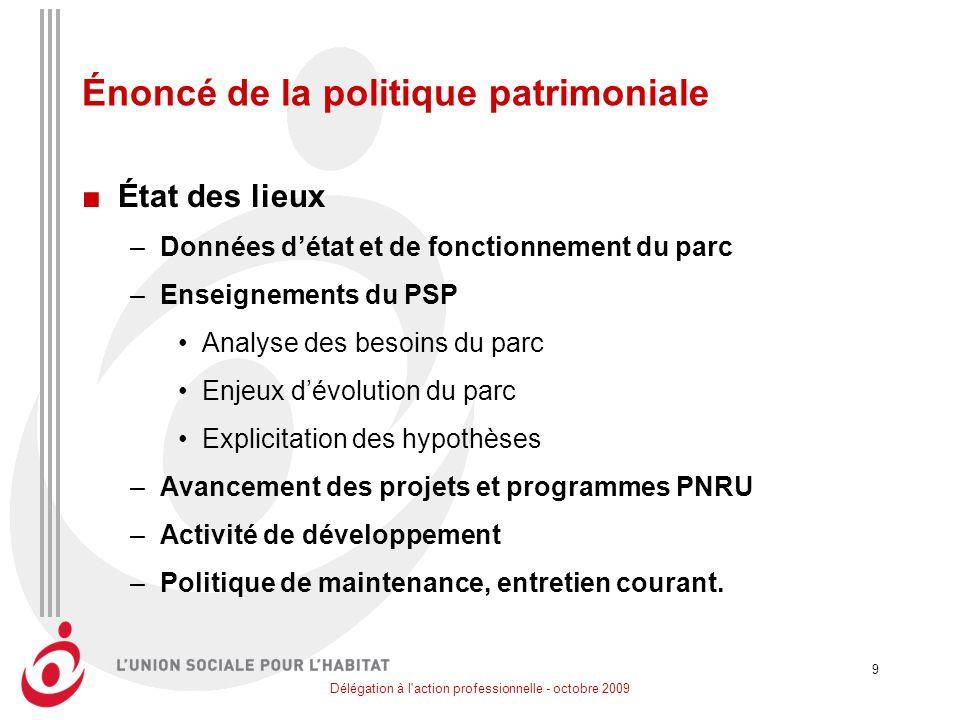 Délégation à l'action professionnelle - octobre 2009 9 Énoncé de la politique patrimoniale État des lieux –Données détat et de fonctionnement du parc