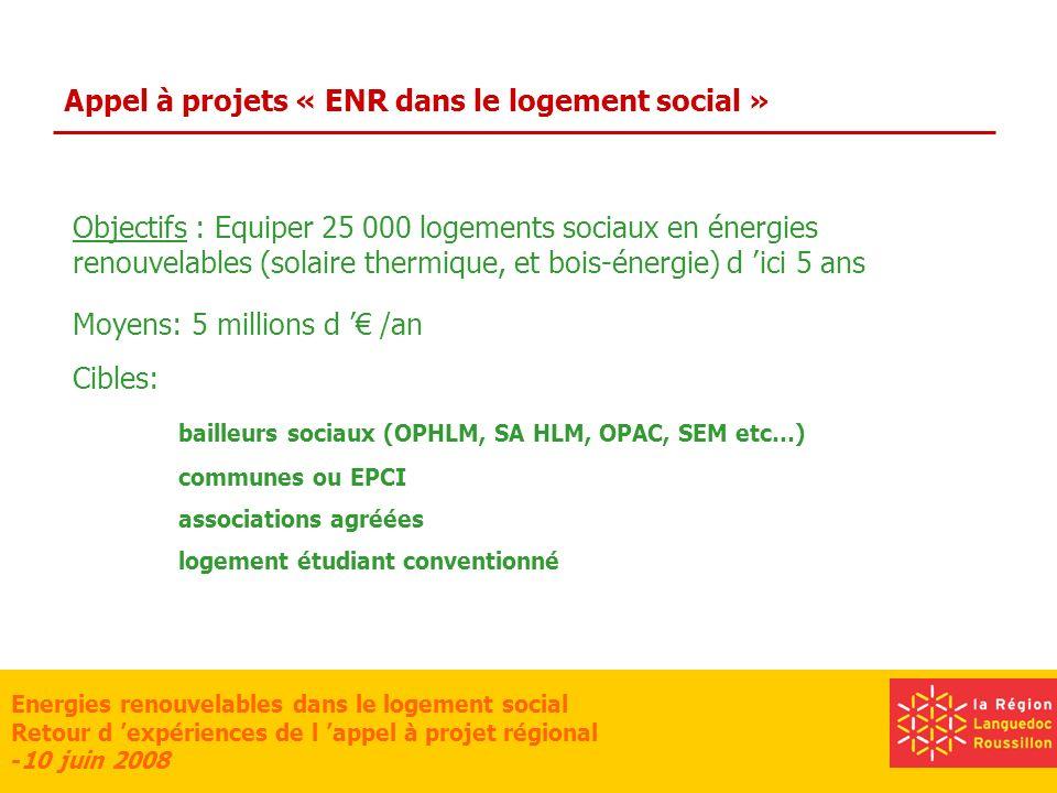 Energies renouvelables dans le logement social Retour d expériences de l appel à projet régional -10 juin 2008 Appel à projets « ENR dans le logement