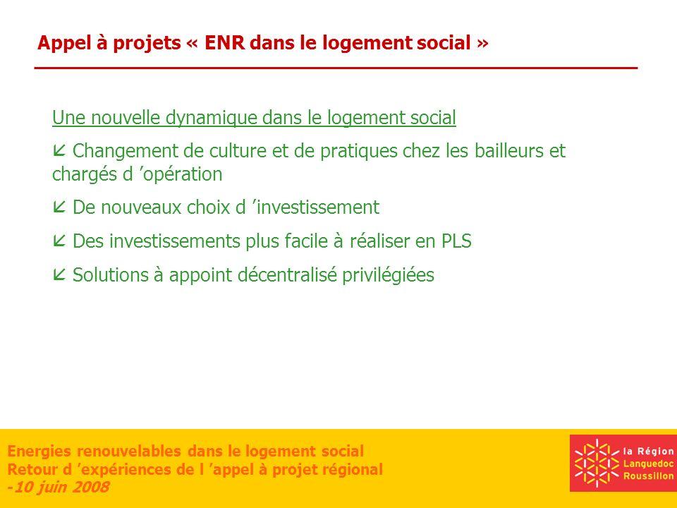 Energies renouvelables dans le logement social Retour d expériences de l appel à projet régional -10 juin 2008 Appel à projets « ENR dans le logement social » Des questions Peu de renouvellement chez les bailleurs Quelle baisse de charges pour l occupant .