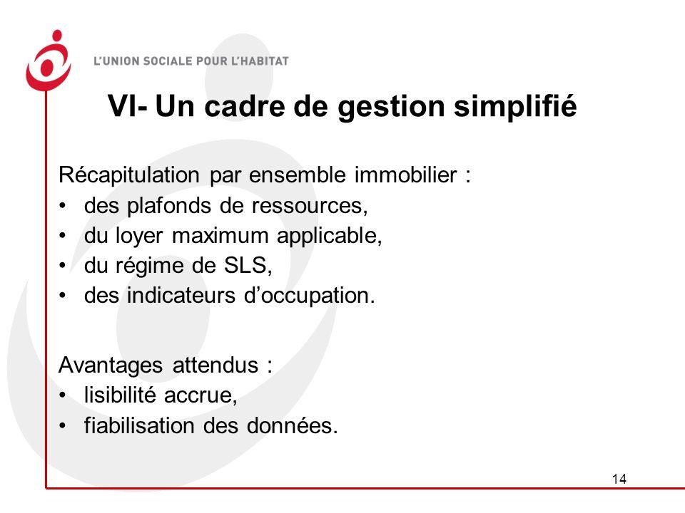 14 VI- Un cadre de gestion simplifié Récapitulation par ensemble immobilier : des plafonds de ressources, du loyer maximum applicable, du régime de SLS, des indicateurs doccupation.