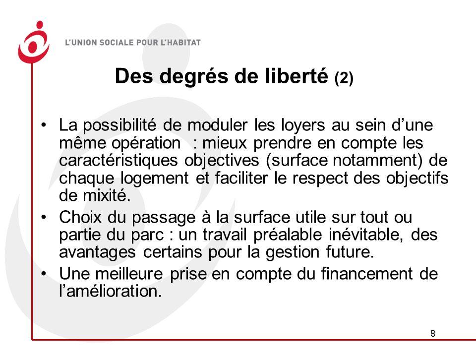 8 Des degrés de liberté (2) La possibilité de moduler les loyers au sein dune même opération : mieux prendre en compte les caractéristiques objectives (surface notamment) de chaque logement et faciliter le respect des objectifs de mixité.