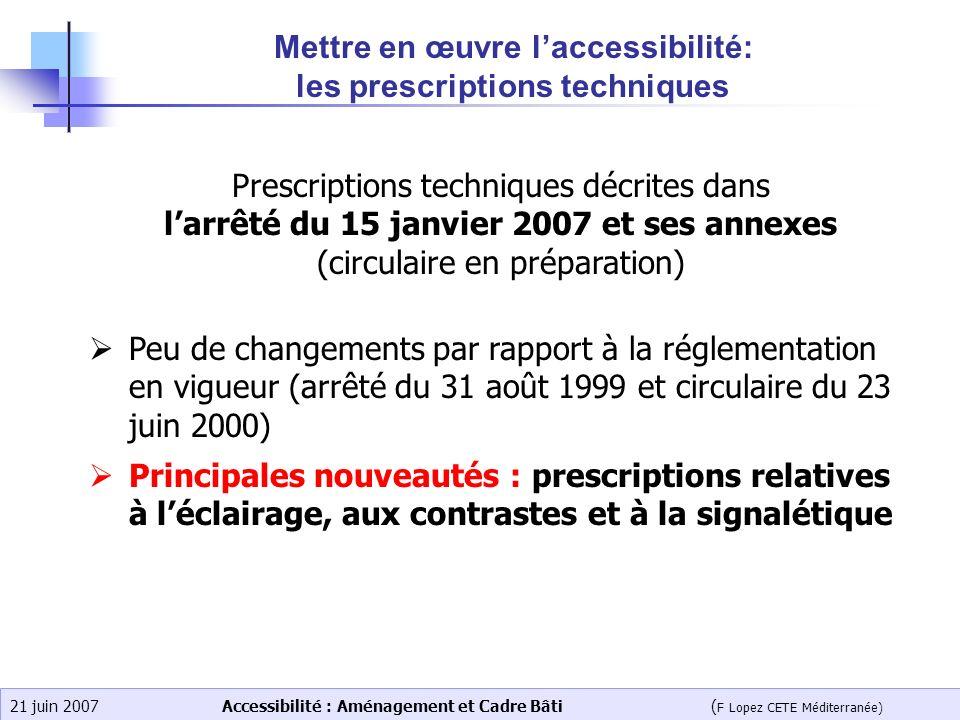 Accessibilité : Aménagement et Cadre Bâti ( F Lopez CETE Méditerranée) 21 juin 2007 Mettre en œuvre laccessibilité: les prescriptions techniques Presc