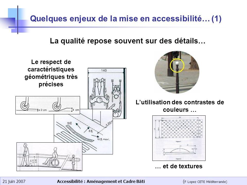 Accessibilité : Aménagement et Cadre Bâti ( F Lopez CETE Méditerranée) 21 juin 2007 Quelques enjeux de la mise en accessibilité… (1) Le respect de car
