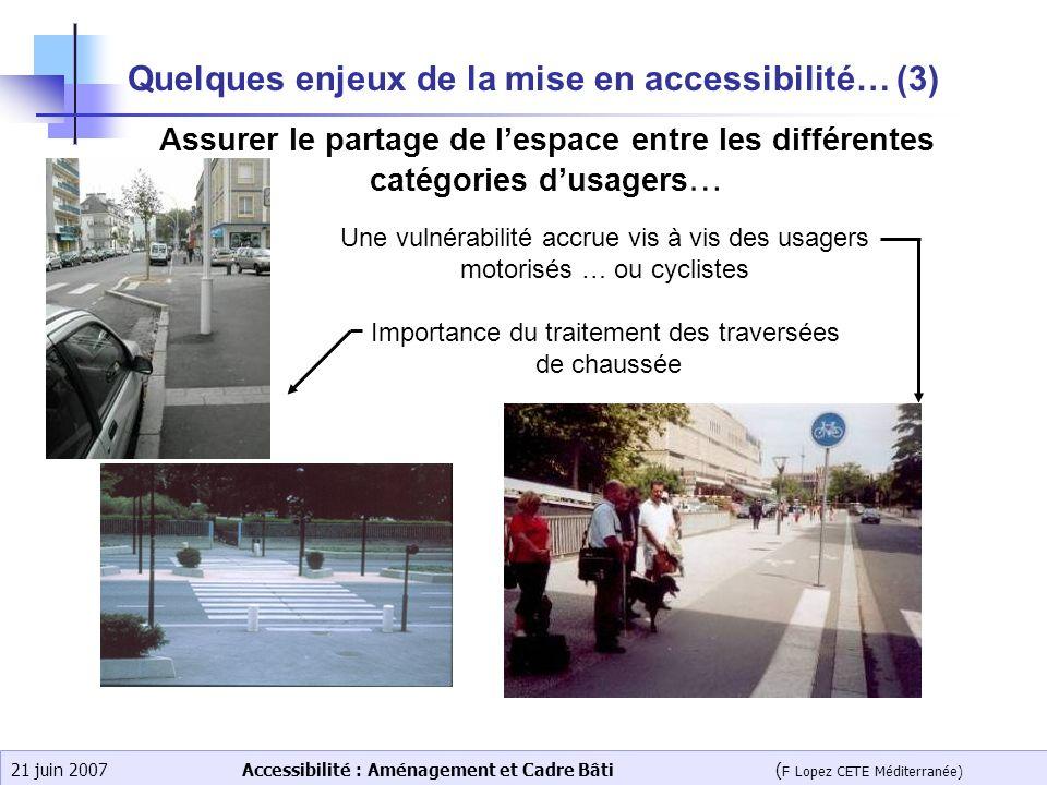 Accessibilité : Aménagement et Cadre Bâti ( F Lopez CETE Méditerranée) 21 juin 2007 Quelques enjeux de la mise en accessibilité… (3) Assurer le partag