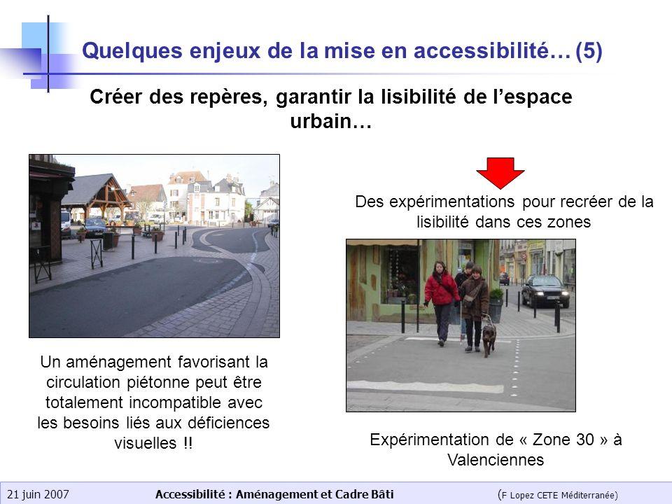 Accessibilité : Aménagement et Cadre Bâti ( F Lopez CETE Méditerranée) 21 juin 2007 Quelques enjeux de la mise en accessibilité… (5) Créer des repères