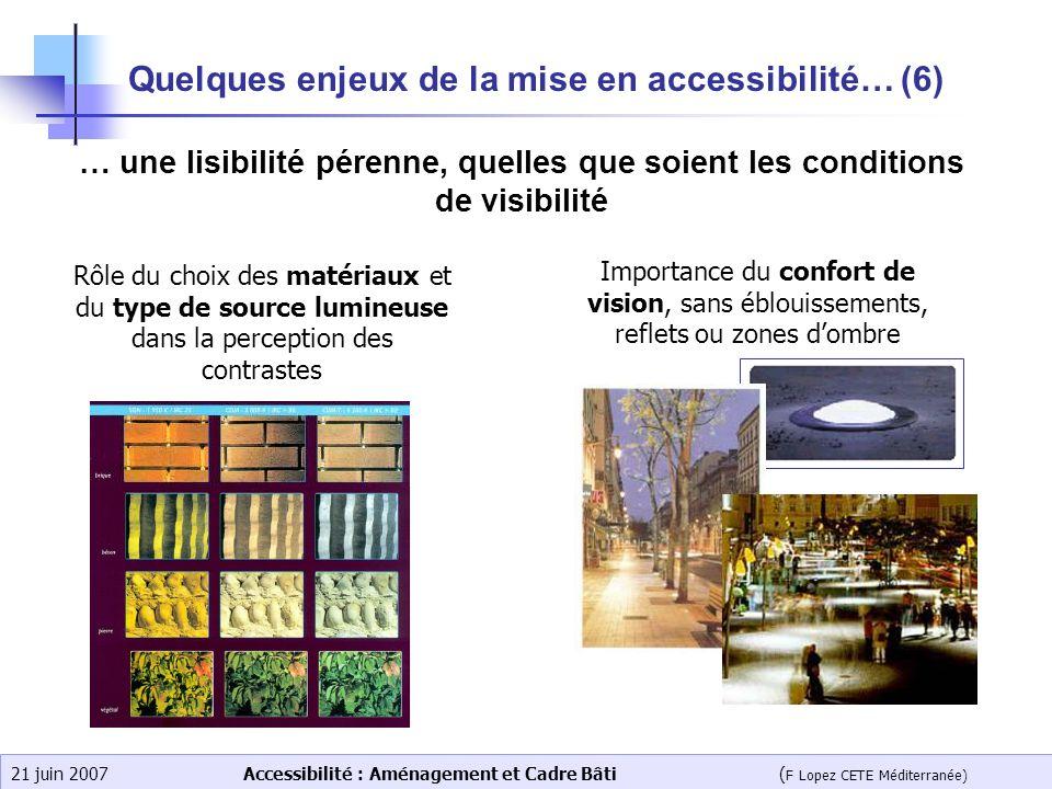 Accessibilité : Aménagement et Cadre Bâti ( F Lopez CETE Méditerranée) 21 juin 2007 Quelques enjeux de la mise en accessibilité… (6) … une lisibilité