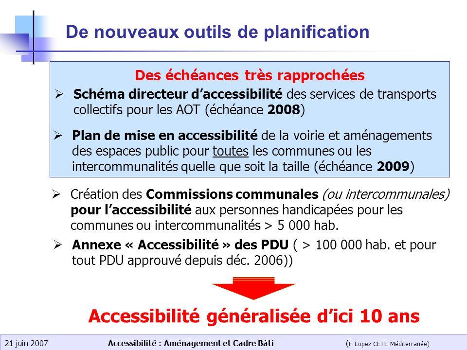 Accessibilité : Aménagement et Cadre Bâti ( F Lopez CETE Méditerranée) 21 juin 2007 De nouveaux outils de planification Des échéances très rapprochées