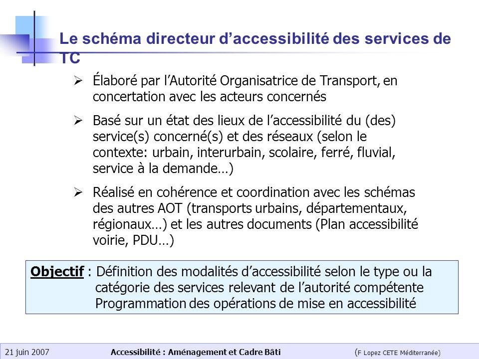 Accessibilité : Aménagement et Cadre Bâti ( F Lopez CETE Méditerranée) 21 juin 2007 Le schéma directeur daccessibilité des services de TC Élaboré par