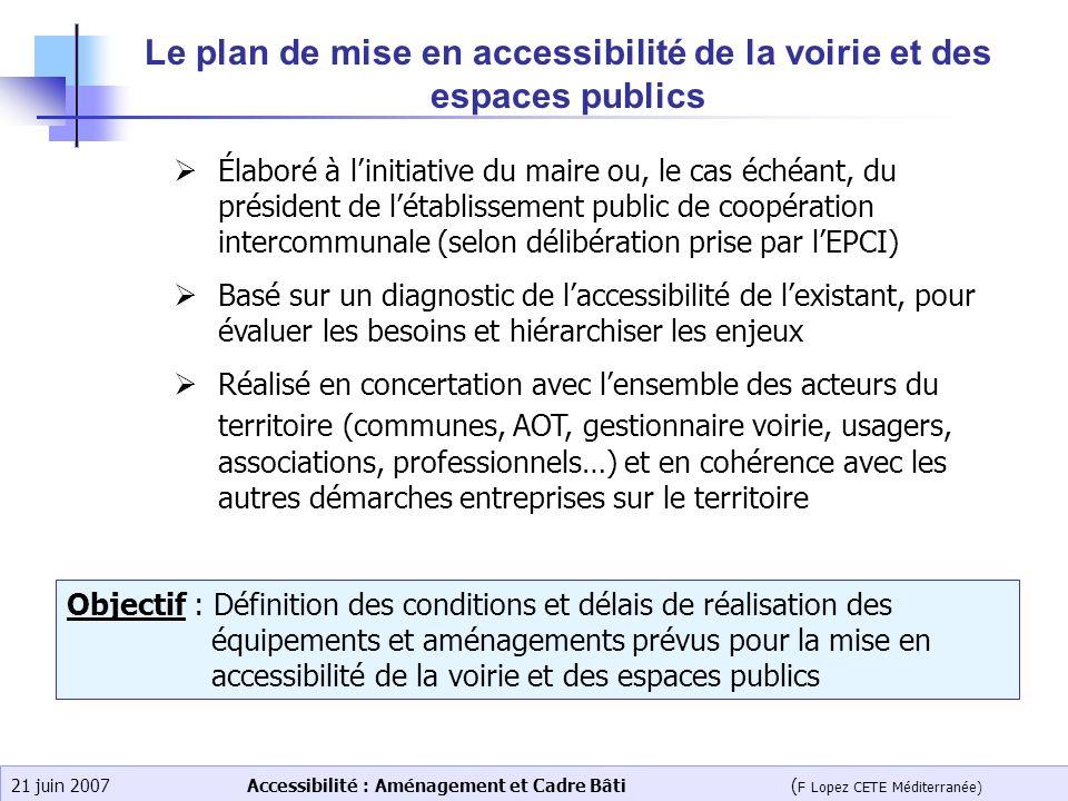 Accessibilité : Aménagement et Cadre Bâti ( F Lopez CETE Méditerranée) 21 juin 2007 Le plan de mise en accessibilité de la voirie et des espaces publi