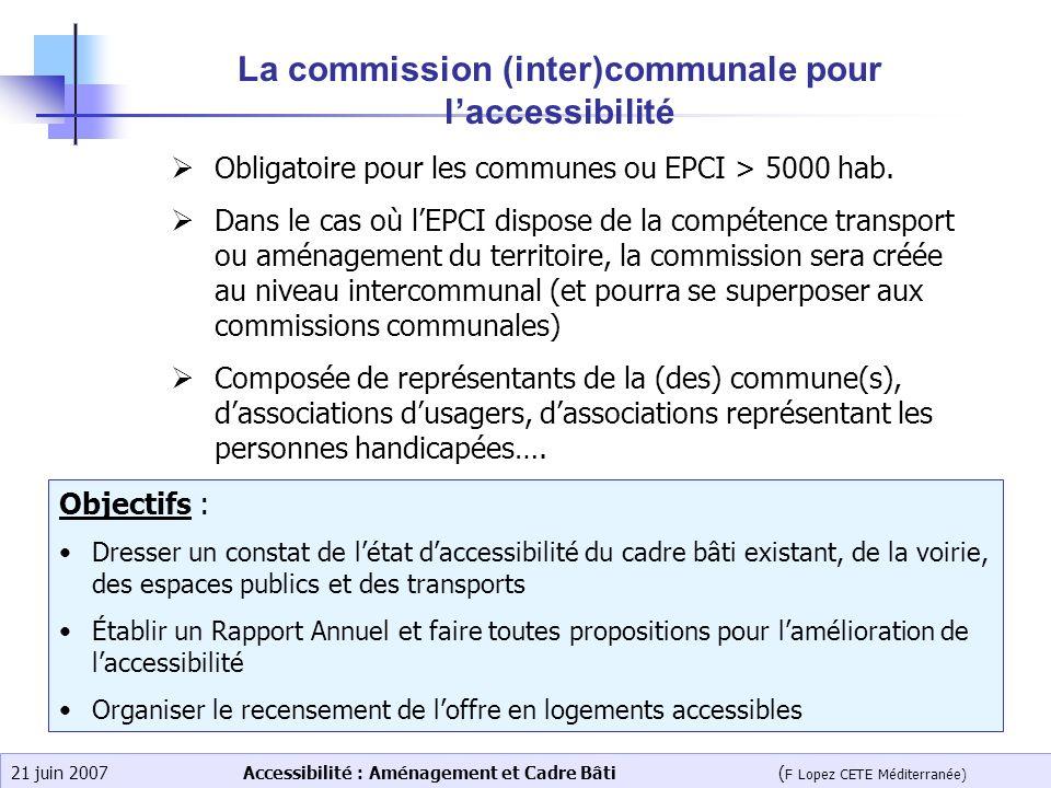 Accessibilité : Aménagement et Cadre Bâti ( F Lopez CETE Méditerranée) 21 juin 2007 La commission (inter)communale pour laccessibilité Obligatoire pou