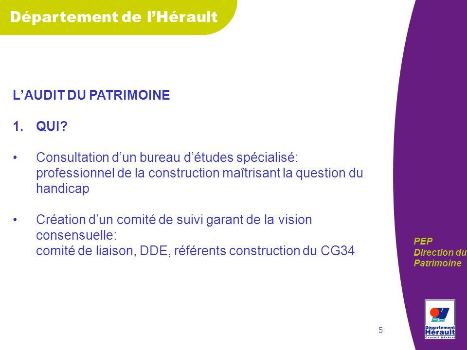 Département de lHérault PEP Direction du Patrimoine 6 2.