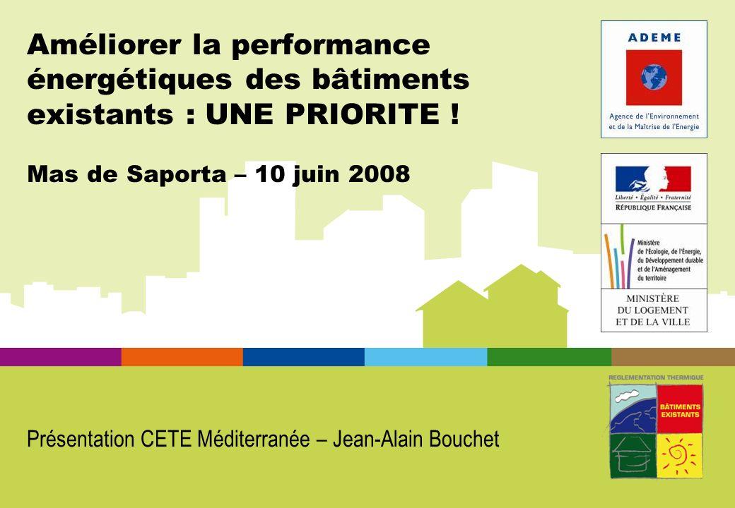 Améliorer la performance énergétiques des bâtiments existants : UNE PRIORITE ! Mas de Saporta – 10 juin 2008 Présentation CETE Méditerranée – Jean-Ala