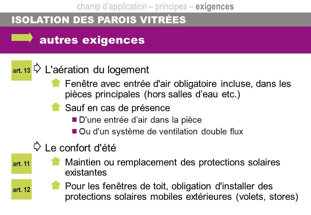 ISOLATION DES PAROIS VITRÉES autres exigences L'aération du logement Fenêtre avec entrée d'air obligatoire incluse, dans les pièces principales (hors
