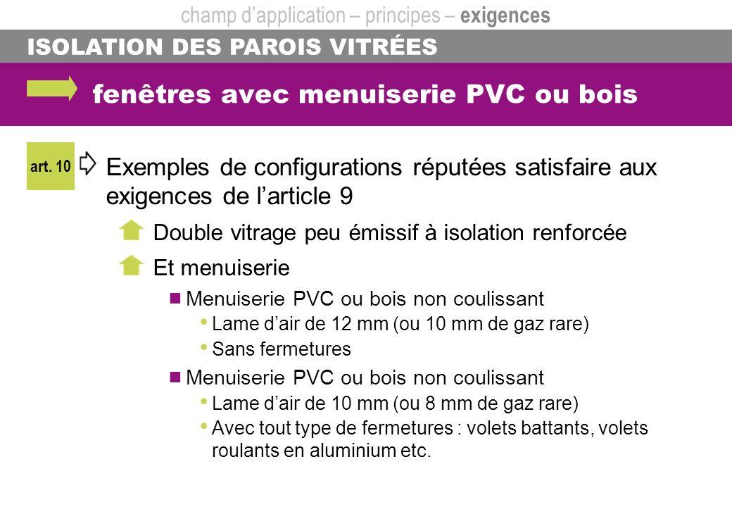 ISOLATION DES PAROIS VITRÉES fenêtres avec menuiserie PVC ou bois champ dapplication – principes – exigences art. 10 Exemples de configurations réputé