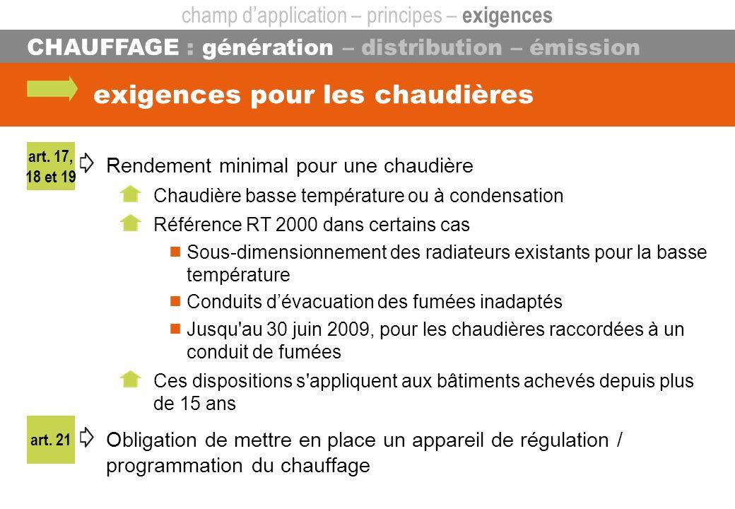art. 21 CHAUFFAGE : génération – distribution – émission exigences pour les chaudières Rendement minimal pour une chaudière Chaudière basse températur