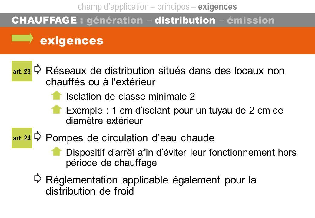 exigences Réseaux de distribution situés dans des locaux non chauffés ou à l'extérieur Isolation de classe minimale 2 Exemple : 1 cm disolant pour un