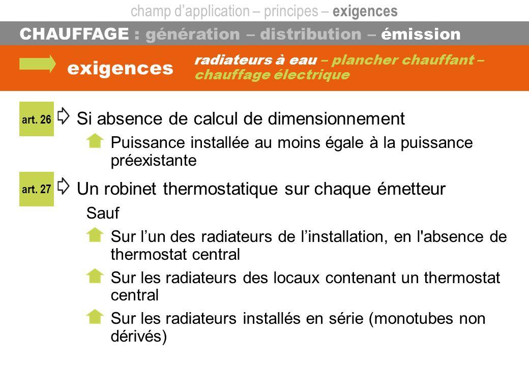 radiateurs à eau – plancher chauffant – chauffage électrique CHAUFFAGE : génération – distribution – émission exigences Si absence de calcul de dimens