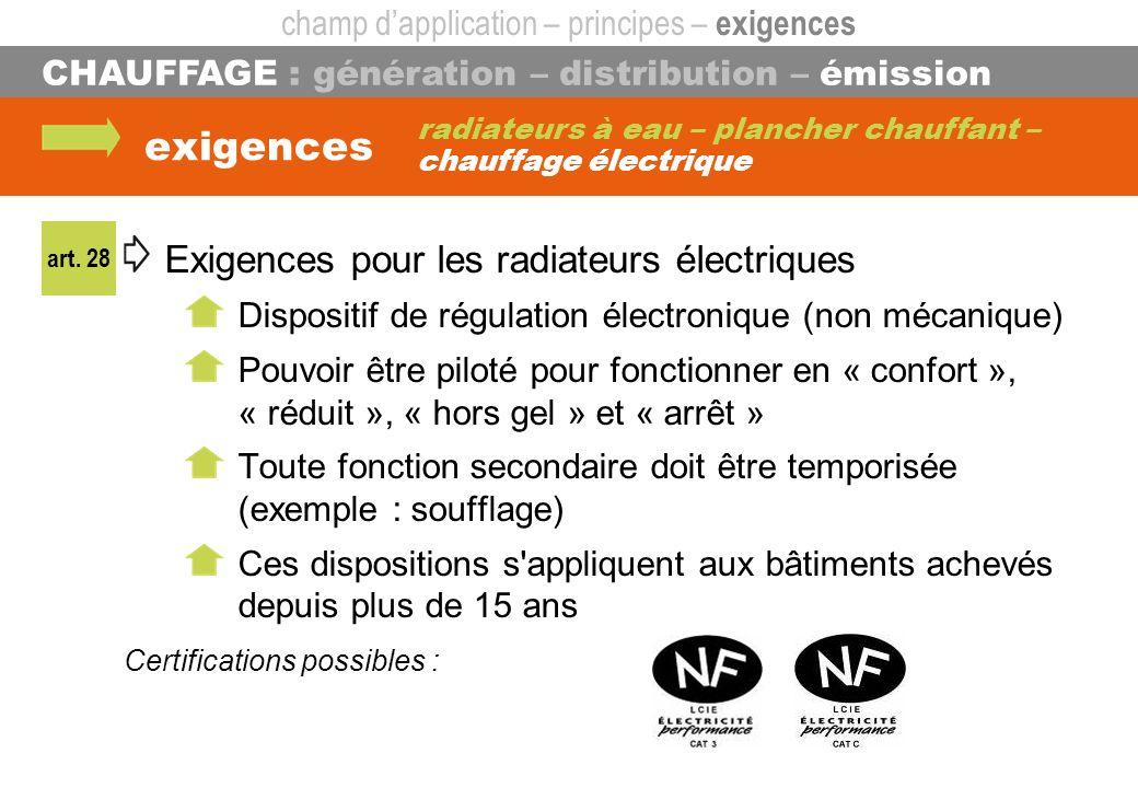 CHAUFFAGE : génération – distribution – émission exigences radiateurs à eau – plancher chauffant – chauffage électrique Exigences pour les radiateurs