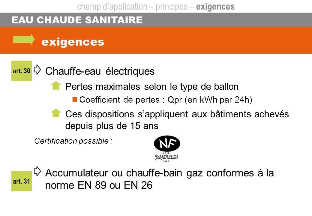exigences EAU CHAUDE SANITAIRE Chauffe-eau électriques Pertes maximales selon le type de ballon Coefficient de pertes : Qpr (en kWh par 24h) Ces dispo