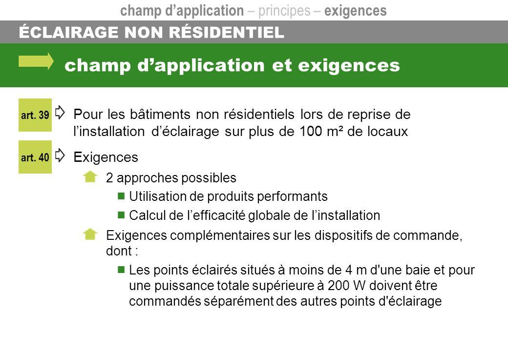 champ dapplication et exigences Pour les bâtiments non résidentiels lors de reprise de linstallation déclairage sur plus de 100 m² de locaux Exigences