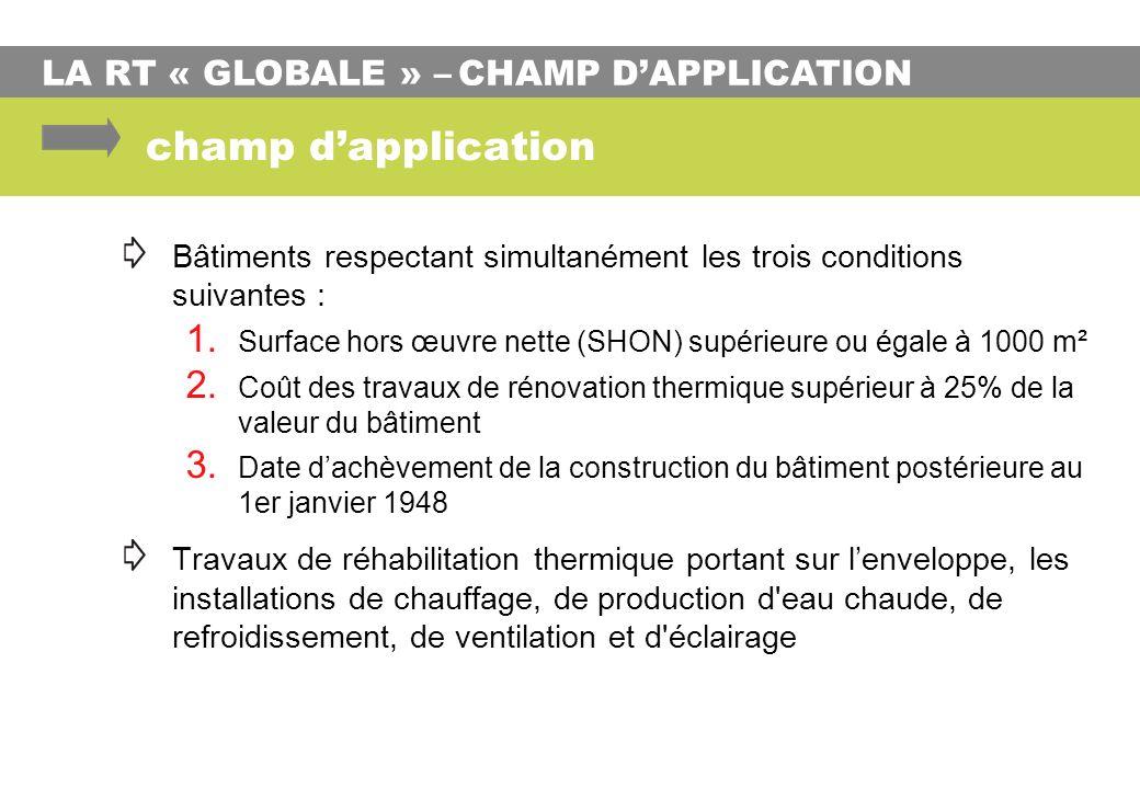 LA RT « GLOBALE » – CHAMP DAPPLICATION champ dapplication Bâtiments respectant simultanément les trois conditions suivantes : 1. Surface hors œuvre ne
