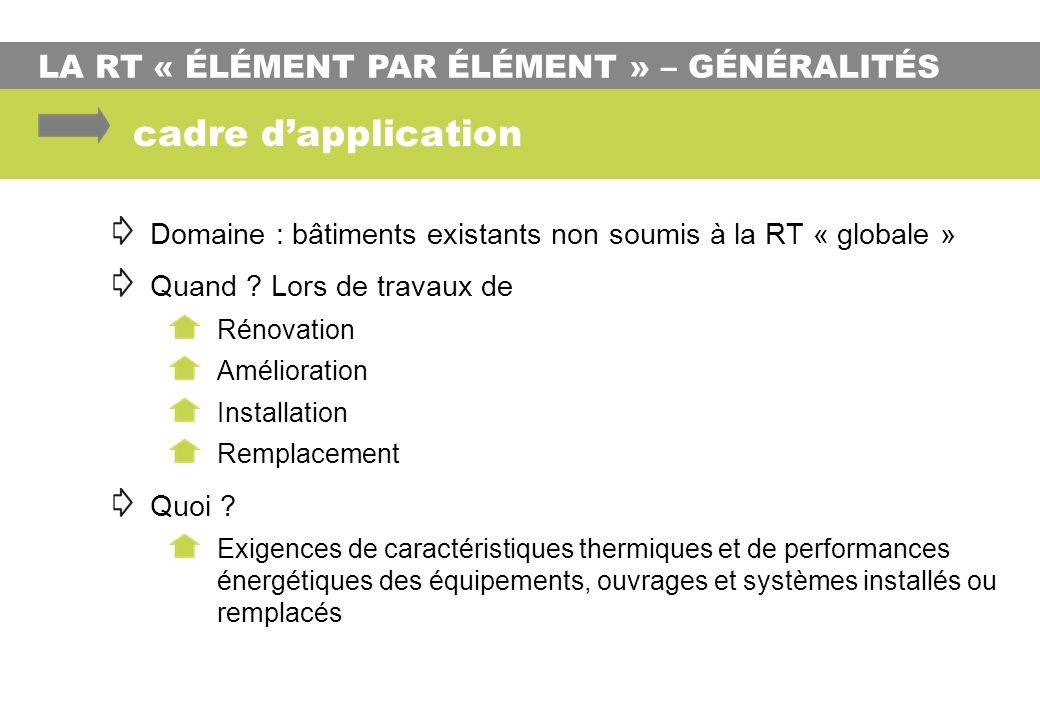 LA RT « ÉLÉMENT PAR ÉLÉMENT » – GÉNÉRALITÉS cadre dapplication Domaine : bâtiments existants non soumis à la RT « globale » Quand ? Lors de travaux de