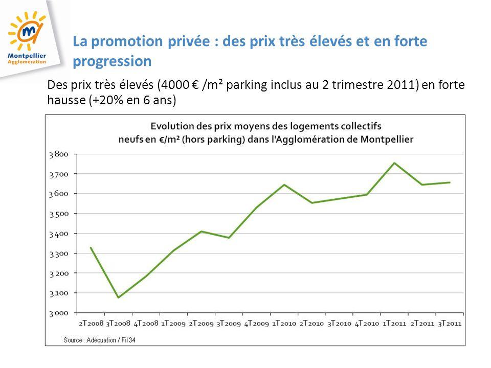 4 4 4 La promotion privée : des prix très élevés et en forte progression Des prix très élevés (4000 /m² parking inclus au 2 trimestre 2011) en forte hausse (+20% en 6 ans)