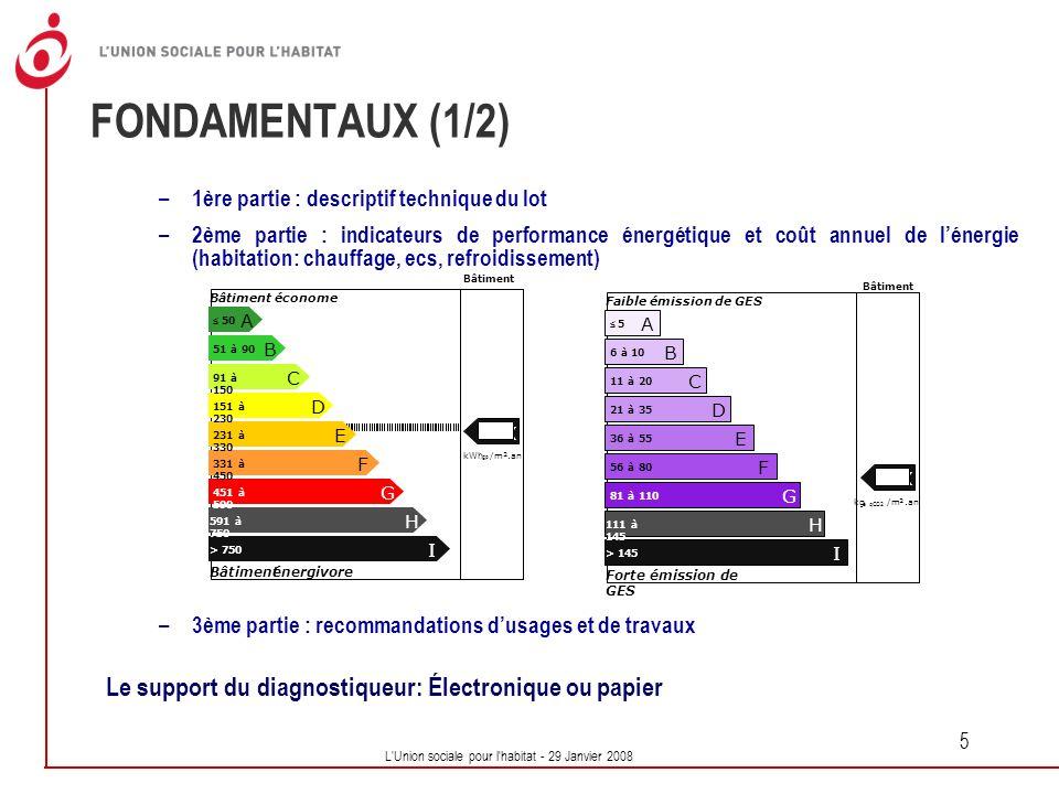 L'Union sociale pour l'habitat - 29 Janvier 2008 5 FONDAMENTAUX (1/2) – 1ère partie : descriptif technique du lot – 2ème partie : indicateurs de perfo