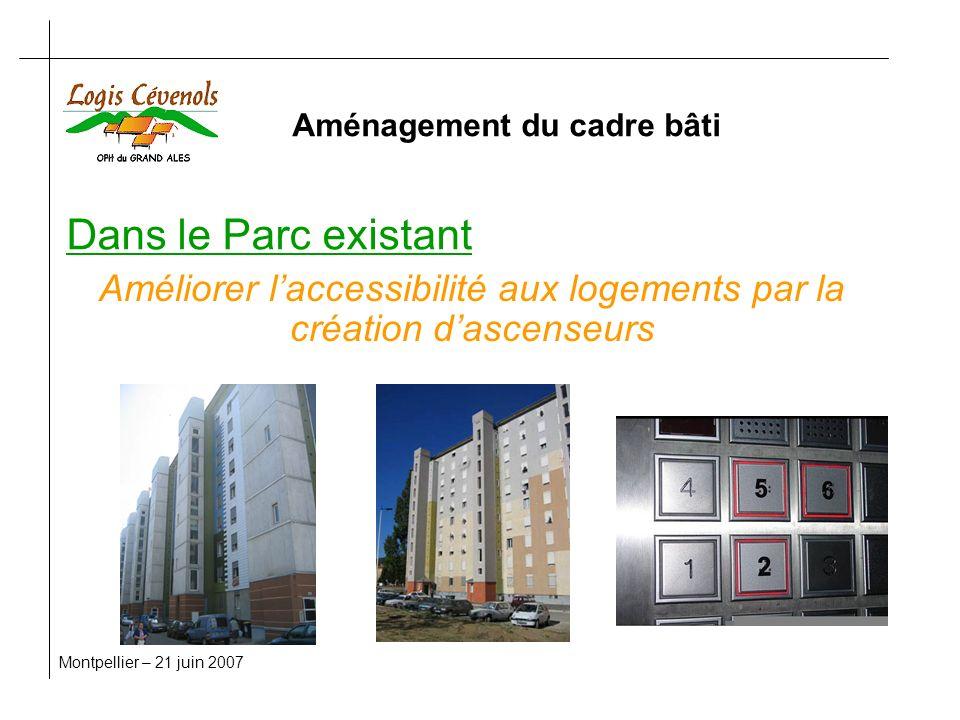 Dans le Parc existant Montpellier – 21 juin 2007 Améliorer laccessibilité aux logements par la création dascenseurs Aménagement du cadre bâti