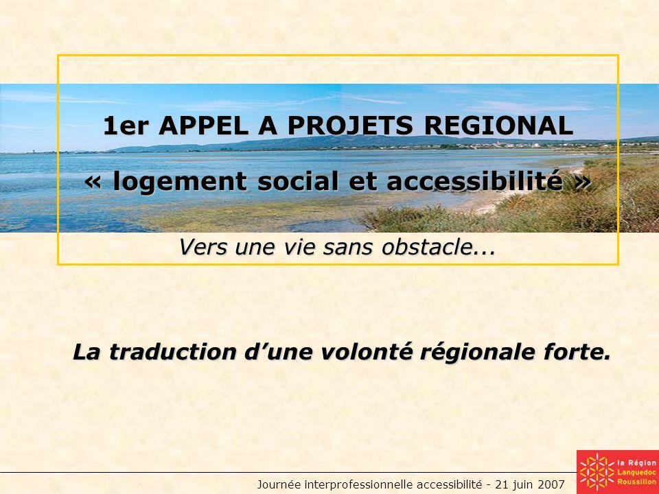 Journée interprofessionnelle accessibilité - 21 juin 2007 1er APPEL A PROJETS REGIONAL « logement social et accessibilité » Vers une vie sans obstacle...