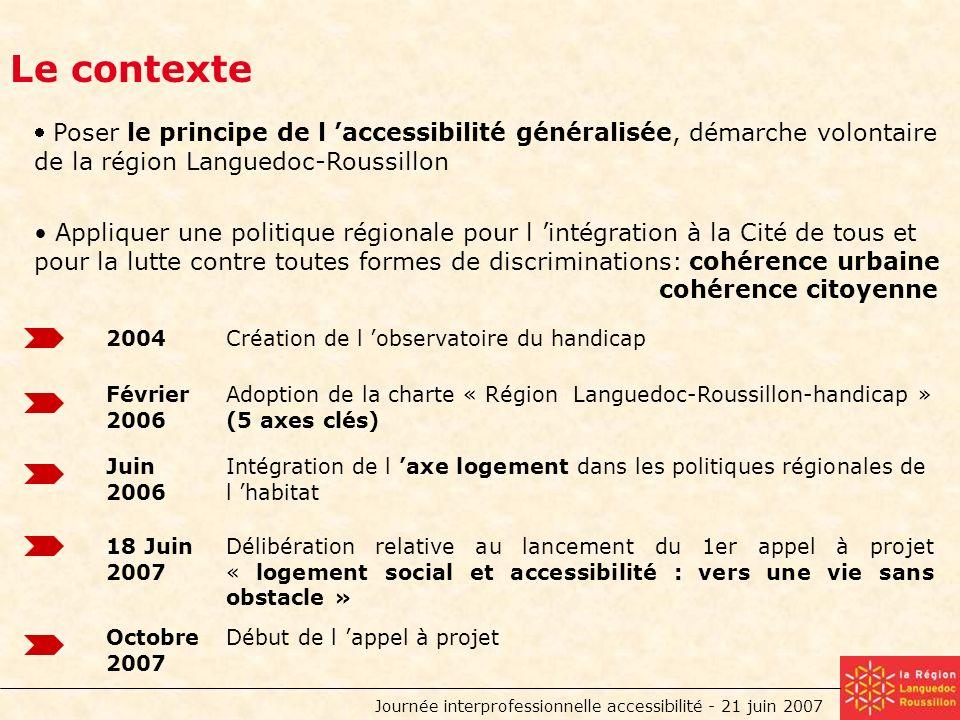 Journée interprofessionnelle accessibilité - 21 juin 2007 Le contexte Février 2006 Adoption de la charte « Région Languedoc-Roussillon-handicap » (5 axes clés) Juin 2006 Intégration de l axe logement dans les politiques régionales de l habitat Création de l observatoire du handicap 18 Juin 2007 Délibération relative au lancement du 1er appel à projet « logement social et accessibilité : vers une vie sans obstacle » Octobre 2007 Début de l appel à projet 2004 Poser le principe de l accessibilité généralisée, démarche volontaire de la région Languedoc-Roussillon Appliquer une politique régionale pour l intégration à la Cité de tous et pour la lutte contre toutes formes de discriminations: cohérence urbaine cohérence citoyenne