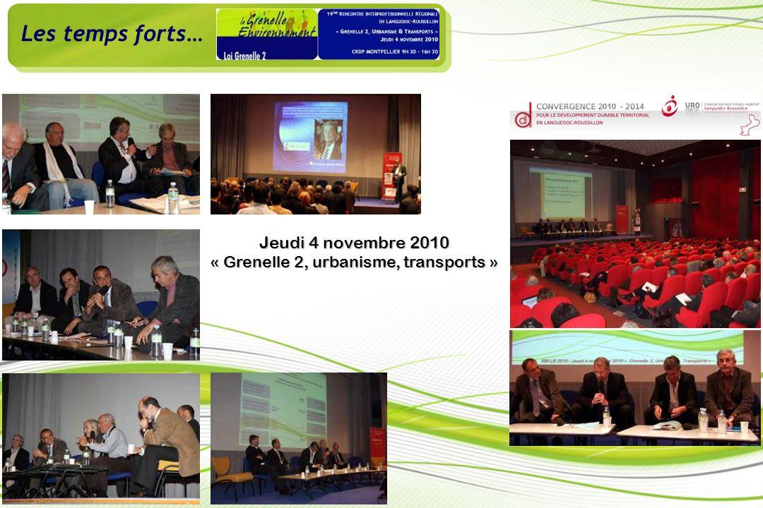 Les temps forts… Jeudi 4 novembre 2010 « Grenelle 2, urbanisme, transports »