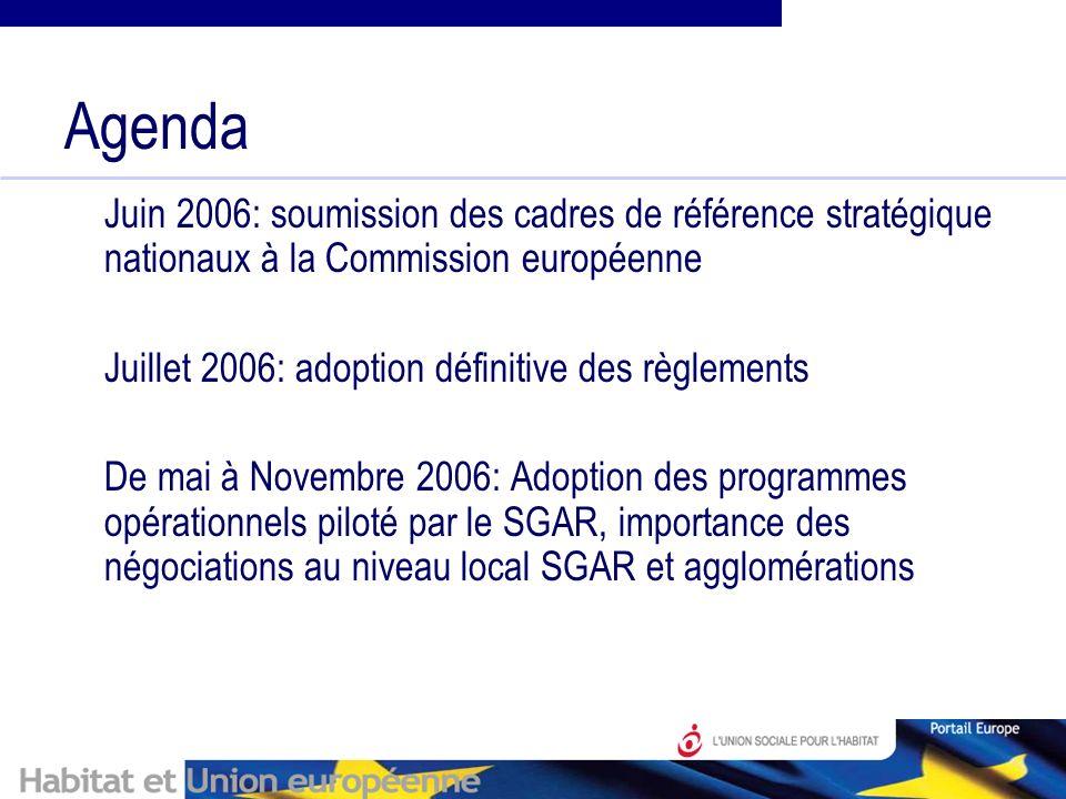 Agenda Juin 2006: soumission des cadres de référence stratégique nationaux à la Commission européenne Juillet 2006: adoption définitive des règlements De mai à Novembre 2006: Adoption des programmes opérationnels piloté par le SGAR, importance des négociations au niveau local SGAR et agglomérations
