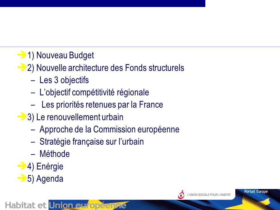 1) Nouveau Budget 2) Nouvelle architecture des Fonds structurels –Les 3 objectifs –Lobjectif compétitivité régionale – Les priorités retenues par la France 3) Le renouvellement urbain –Approche de la Commission européenne –Stratégie française sur lurbain –Méthode 4) Enérgie 5) Agenda
