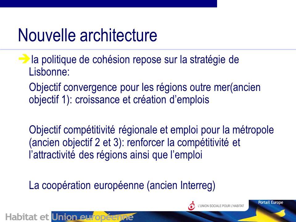 Nouvelle architecture la politique de cohésion repose sur la stratégie de Lisbonne: Objectif convergence pour les régions outre mer(ancien objectif 1): croissance et création demplois Objectif compétitivité régionale et emploi pour la métropole (ancien objectif 2 et 3): renforcer la compétitivité et lattractivité des régions ainsi que lemploi La coopération européenne (ancien Interreg)