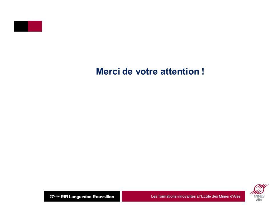 Institut Mines-Télécom 26 juin 2013 Les formations innovantes à lEcole des Mines dAlès12 27 ème RIR Languedoc-Roussillon Merci de votre attention !