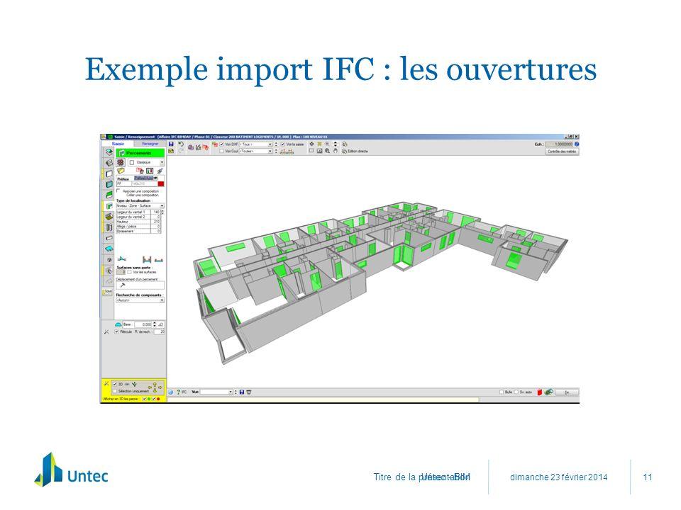 Titre de la présentation Exemple import IFC : les ouvertures dimanche 23 février 2014 Untec - BIM 11