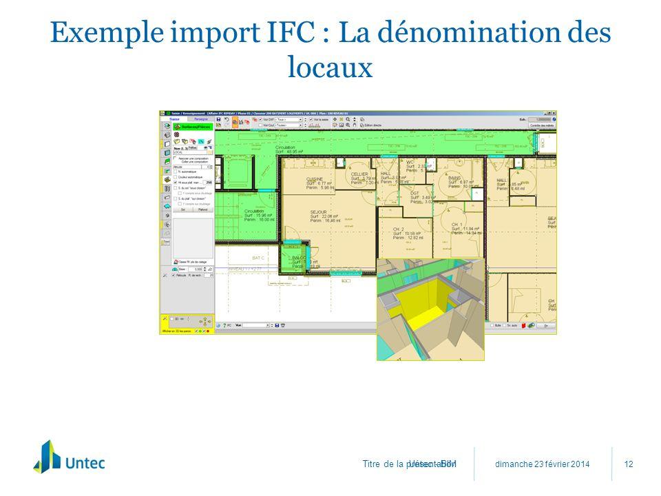 Titre de la présentation Exemple import IFC : La dénomination des locaux dimanche 23 février 2014 Untec - BIM 12