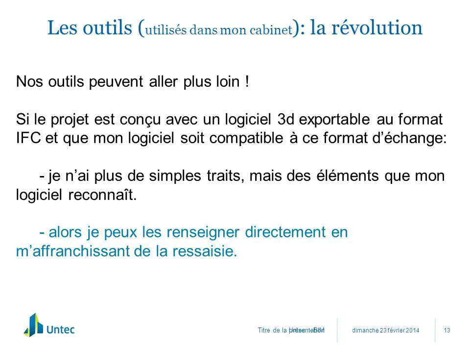 Titre de la présentation Les outils ( utilisés dans mon cabinet ): la révolution dimanche 23 février 2014 Untec - BIM 13 Nos outils peuvent aller plus