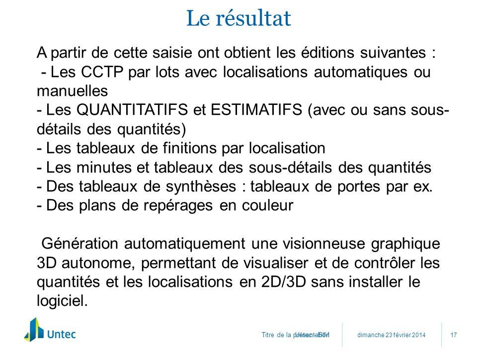 Titre de la présentation Le résultat dimanche 23 février 2014 Untec - BIM 17 A partir de cette saisie ont obtient les éditions suivantes : - Les CCTP