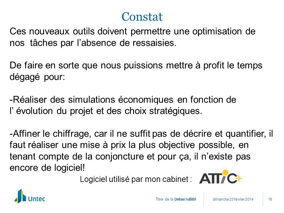 Titre de la présentation Constat dimanche 23 février 2014 Untec - BIM 19 Ces nouveaux outils doivent permettre une optimisation de nos tâches par labs