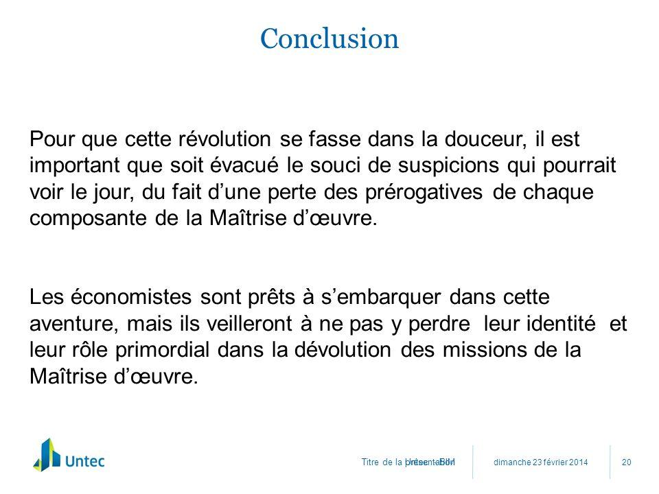 Titre de la présentation Conclusion dimanche 23 février 2014 Untec - BIM 20 Pour que cette révolution se fasse dans la douceur, il est important que s